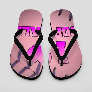 Pink I Love Softball Flip Flops