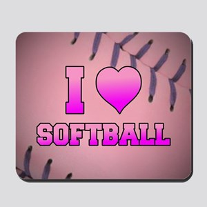 Pink I Love Softball Mousepad