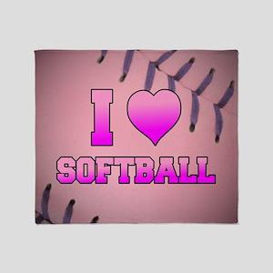 Pink I Love Softball Throw Blanket