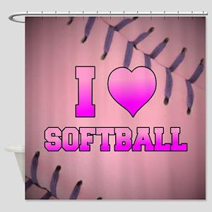 Pink I Love Softball Shower Curtain