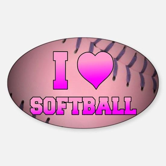 I Heart Softball Sticker (Oval)
