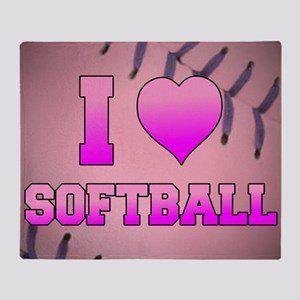 I Heart Softball Throw Blanket