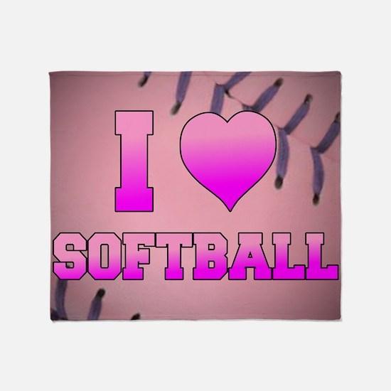 I Heart Softball Throw Blanket