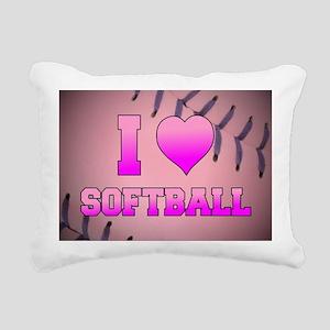I Heart Softball Rectangular Canvas Pillow