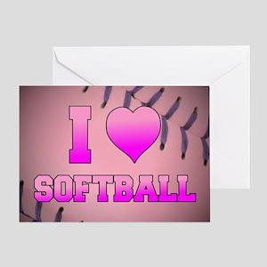 I Heart Softball Greeting Card