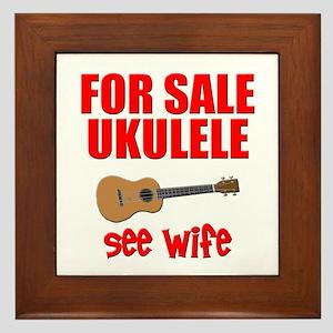funny ukulele uke Framed Tile