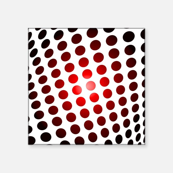 """Red Dots In Motion Square Sticker 3"""" x 3"""""""