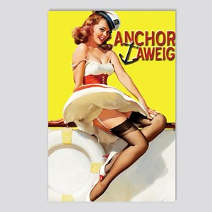anchors aweigh yellow Postcards (Package of 8)