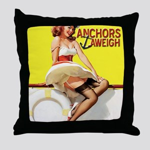 anchors aweigh yellow Throw Pillow