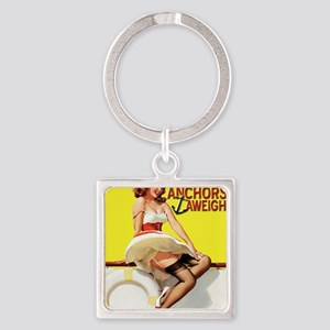 anchors aweigh yellow Square Keychain