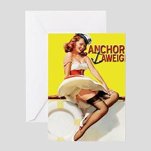 anchors aweigh yellow mousepad Greeting Card