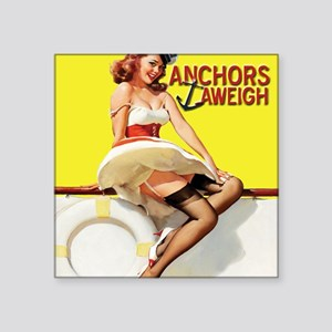 """anchors aweigh yellow mouse Square Sticker 3"""" x 3"""""""