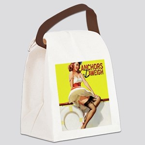 anchors aweigh yellow mousepad Canvas Lunch Bag