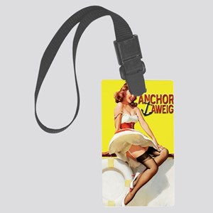 anchors aweigh yellow greeting c Large Luggage Tag