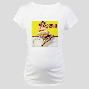 anchors aweigh yellow pillow Maternity T-Shirt
