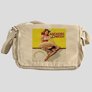 anchors aweigh yellow pillow Messenger Bag