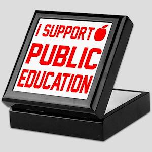 I Support Public Education red letter Keepsake Box