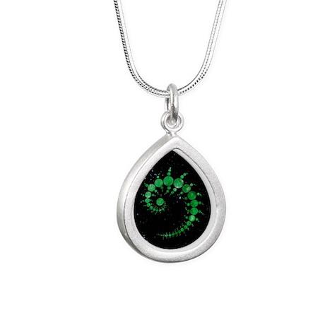 East Field green_small Silver Teardrop Necklace