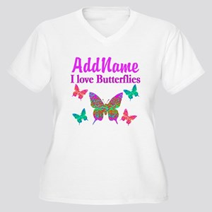 LOVE BUTTERFLIES Women's Plus Size V-Neck T-Shirt
