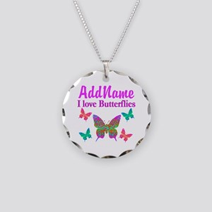 LOVE BUTTERFLIES Necklace Circle Charm