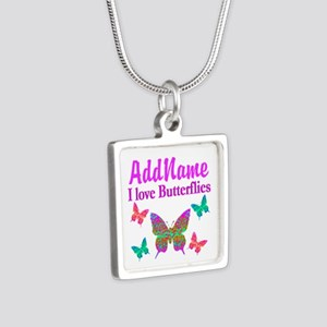 LOVE BUTTERFLIES Silver Square Necklace