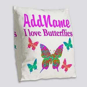 LOVE BUTTERFLIES Burlap Throw Pillow