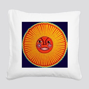 Huichol_String_Art_Sun_dark_b Square Canvas Pillow