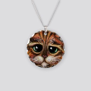 Sad Face Necklace Circle Charm