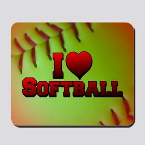Optic Yellow I Love Softball Mousepad