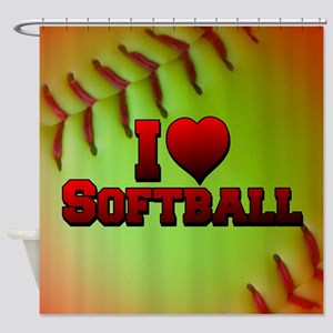 Optic Yellow I Love Softball Shower Curtain