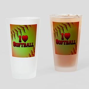 Optic Yellow I Love Softball Drinking Glass