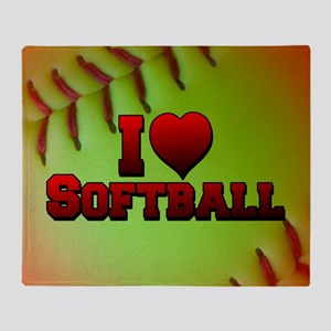 Optic Yellow I Love Softball Throw Blanket