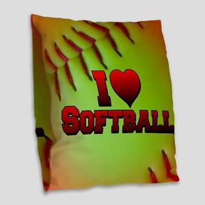 Optic Yellow I Love Softball Burlap Throw Pillow