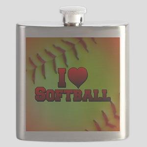 Optic Yellow I Love Softball Flask