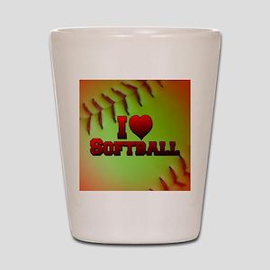 Optic Yellow I Love Softball Shot Glass