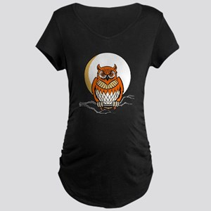 Owl_Black_4Color Maternity Dark T-Shirt