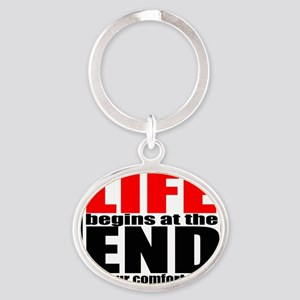 life begins 1 Oval Keychain