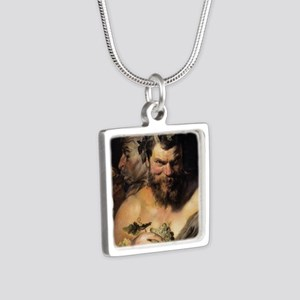 Two Satyrs Silver Square Necklace