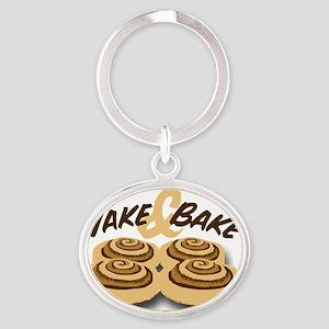 wake and bake Oval Keychain