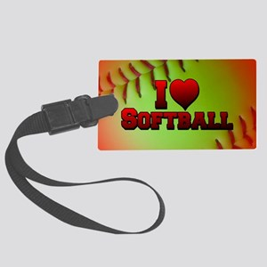 Optic Yellow I Love Softball Large Luggage Tag