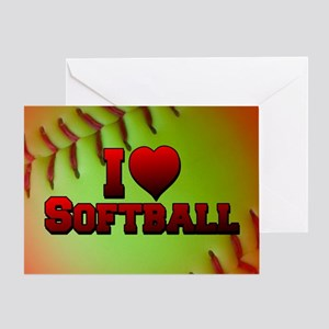 Optic Yellow I Love Softball Greeting Card