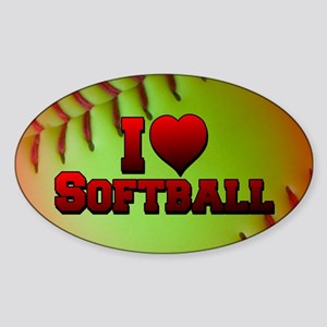 Optic Yellow I Love Softball Sticker (Oval)