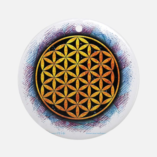 Flower Of Life 2 Round Ornament