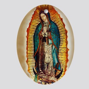 Virgen GuadalupePopCafeKC Oval Ornament