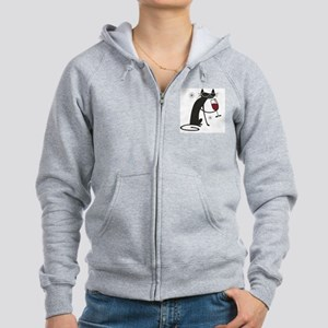 wine-cat-no text Women's Zip Hoodie