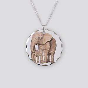 Mother and Child Necklace Circle Charm
