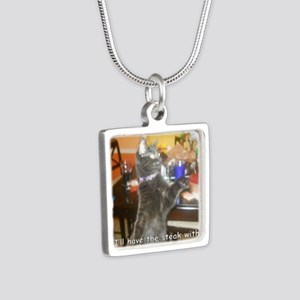 SteakHamburgerSide Silver Square Necklace