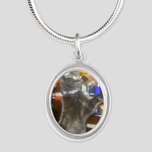 SteakHamburgerSide Silver Oval Necklace