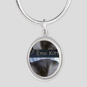 ZaphyEmoKitty Silver Oval Necklace