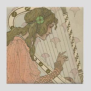 Art Nouveau Harpist Art Tile